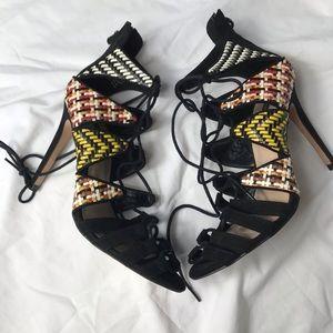 Zara black suede lace up heels multicolored